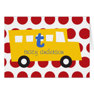 Boy's Toys Fun Cute Yellow Bus Thank You Note Card