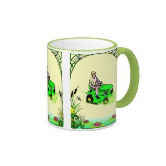 Boy's toys in the garden ringer coffee mug
