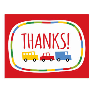 Boys Toys Kid s Birthday Party Thank You Note Card Postcard