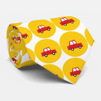 Boy's Toys Red Car Yellow Dots Fun Gift Tie