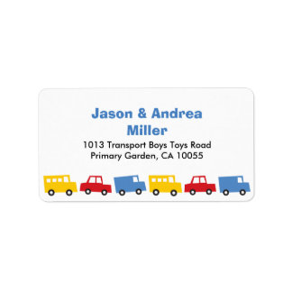 Boys Toys Transport Car Bus Truck Address Labels