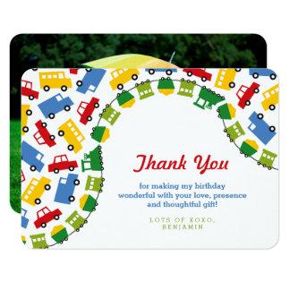 Boys Toys Transport Car Train Bus Thank You Card
