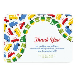 Boys Toys Transport Car Train Bus Truck Thank You Card
