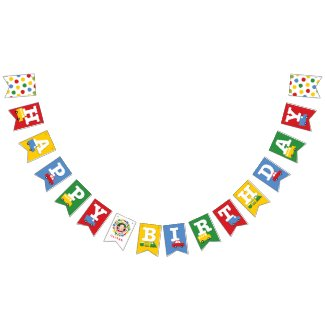 Boys Toys Transport Photo & Happy Birthday Banner