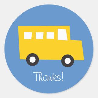 Boys Toys Yellow Bus Birthday Thank You Sticker