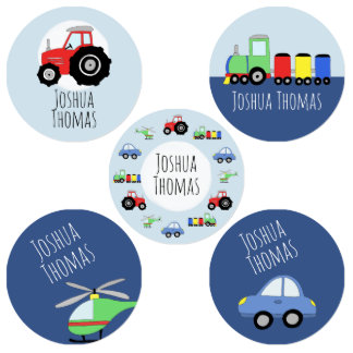 Boys Tractor, Car, Train Cartoon and Name Kids' Labels