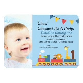 Safari 1st birthday invitations announcements zazzle boys train 1st birthday party invitation stopboris Image collections