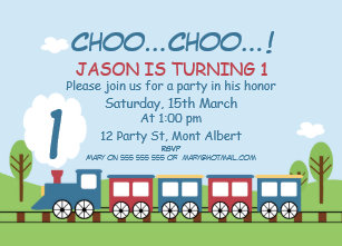 Boys Train 1st Or 2nd Birthday Invitation