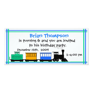 Boy's Train Birthday Invitation