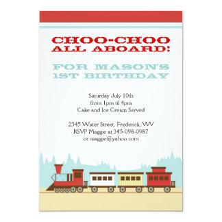 Boys train birthday party themed invitations