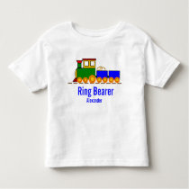 Boy's Train Wedding with Ring Bearer's Name Toddler T-shirt