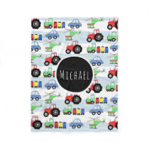 Boy's Transport Train Pattern Name Children's Fleece Blanket