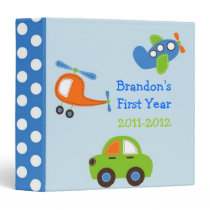 Boys Transportation Baby Photo Album Scrapbook 3 Ring Binder
