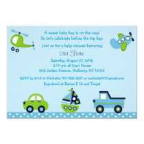 Boys Transportation Baby Shower Invitations