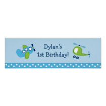 Boys Transportation Birthday Banner Sign