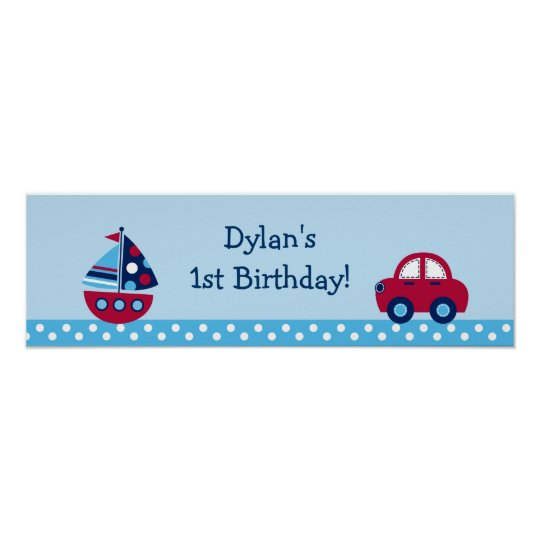 Boys Transportation Birthday Banner Sign Poster