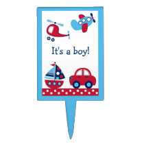 Boys Transportation Cake Topper Cupcake Topper