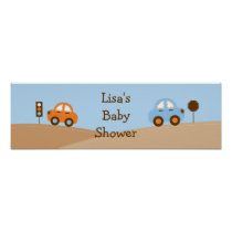 Boys Transportation Car Birthday Banner Sign