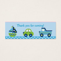 Boys Transportation Car Boat Truck Goodie Bag Tags