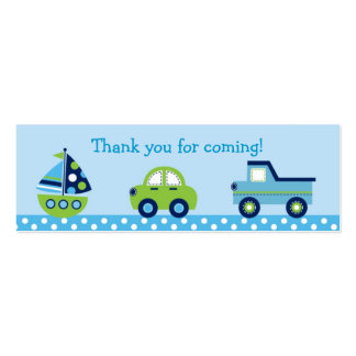Boys Transportation Car Boat Truck Goodie Bag Tags Business Cards