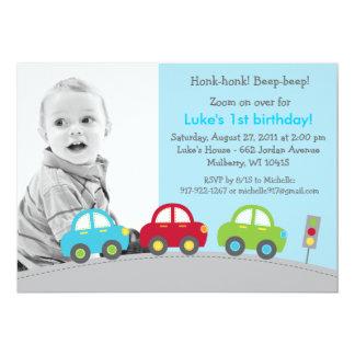 Boys Transportation Car Photo Birthday Invitations