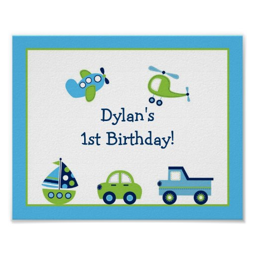 Boys Transportation Nursery Wall Art Print