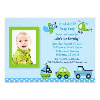Boys Transportation Photo Birthday Invitations