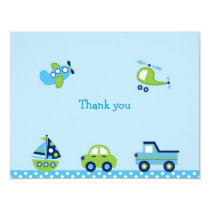 Boys Transportation Thank You Note Cards