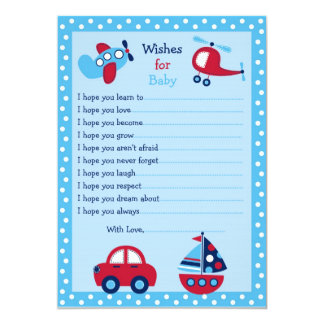 Boys Transportation Wishes for Baby Advice Cards