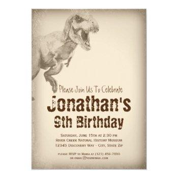 Boys Trex Dinosaur Birthday Party Invitations by WillowTreePrints at Zazzle