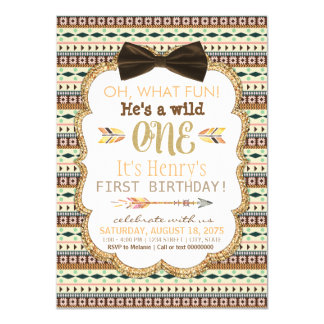 Boys Tribal First Birthday Party Invitation