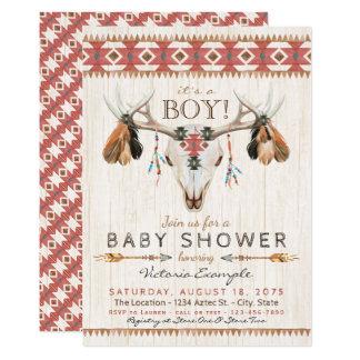 Boys Tribal Skull Baby Shower Invitations