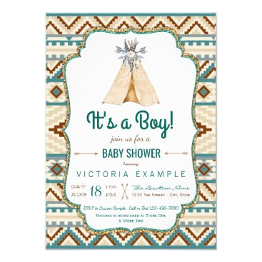 Aztec Themed Boys Tribal Teepee Aztec Baby Shower Card