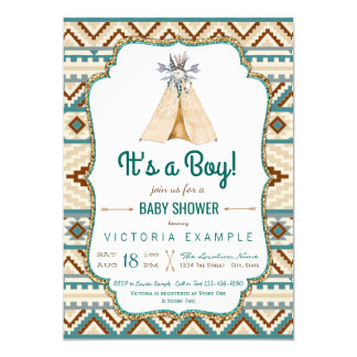 Boys Tribal Teepee Turquoise Aztec Baby Shower Card