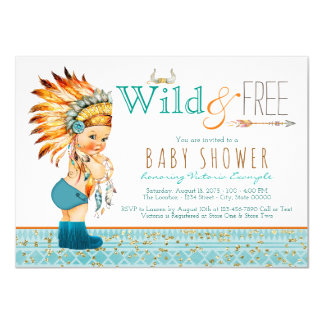 Boys Tribal Wild and Free Baby Shower Card