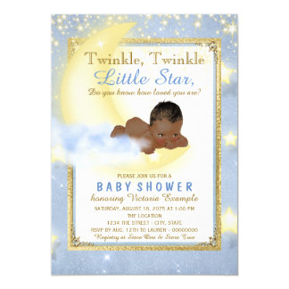 Boys Twinkle Twinkle Little Star Baby Shower Card