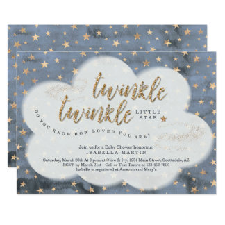 Boys Twinkle Twinkle Little Star Baby Shower Invitation