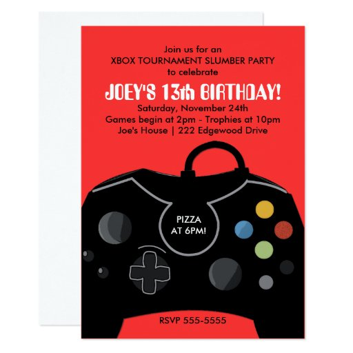 BOYS VIDEO GAME SLUMBER PARTY INVITE RED