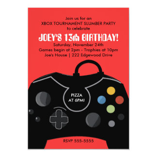 "BOYS VIDEO GAME SLUMBER PARTY INVITE RED 5"" X 7"" INVITATION CARD"