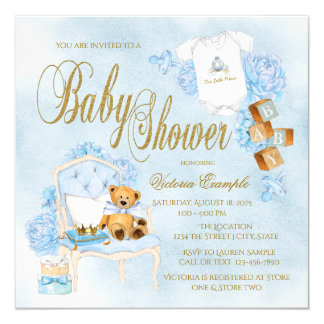 Boys Watercolor Blue Gold Baby Shower Invitations