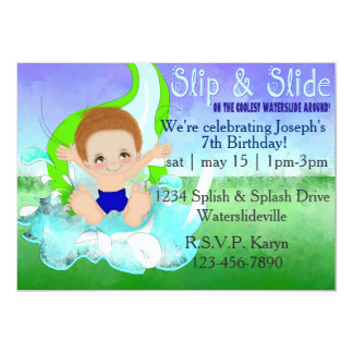 "Boys Waterslide Party Invitation 5"" X 7"" Invitation Card"