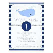 Boys Whale Nautical 1st Birthday Party Invitation