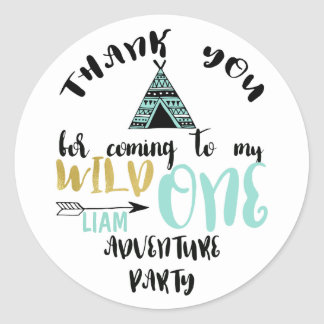 Boys Wild One 1st Birthday Thank You Sticker