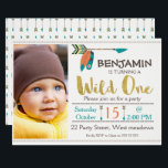 "Boys Wild One Arrow 1st Birthday Invitation<br><div class=""desc"">This boy&#39;s wild one 1st birthday invitation features some faux gold text, some arrows, two feathers and some simple dividers on an off white background. I&#39;ve also included a simple diamond shaped border at the top and base of the design. Your little boy&#39;s photograph appears on the left hand side...</div>"