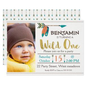 1st birthday boy invitations announcements zazzle boys wild one arrow 1st birthday invitation filmwisefo