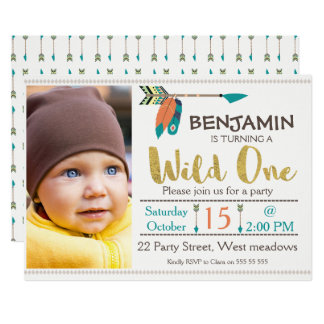 Boys Wild One Arrow 1st Birthday Invitation