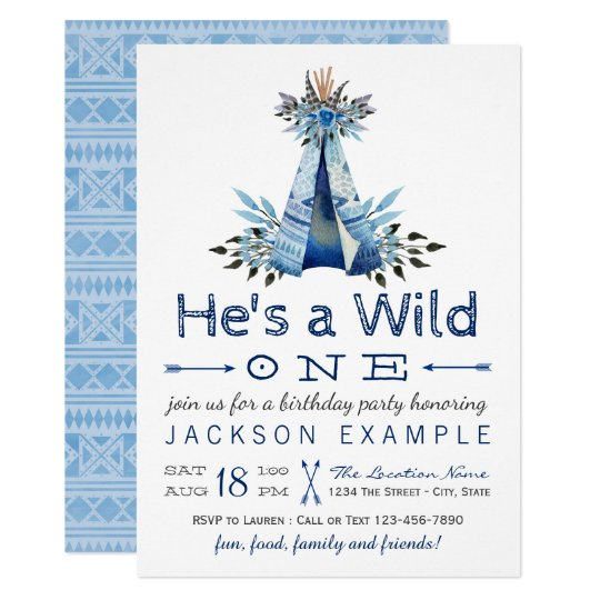 Boys Wild One First Birthday Party Invitations
