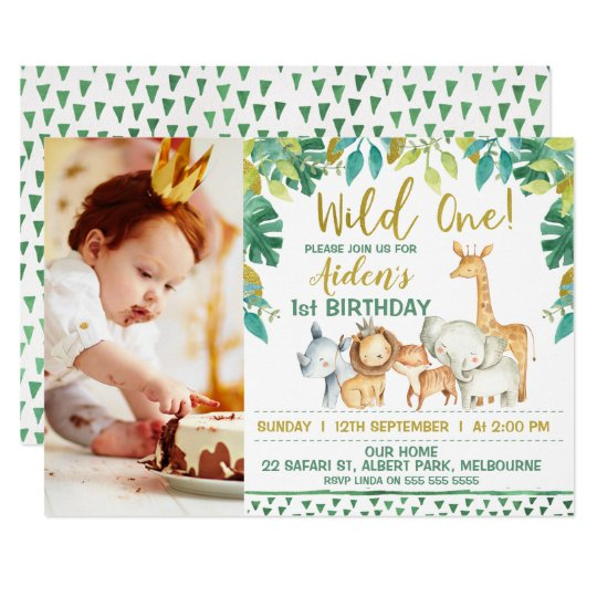 Boys Wild One Safari Photo 1st Birthday Invitation Zazzle Com