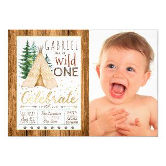 Boys Wild One Tribal TeePee First Birthday Card