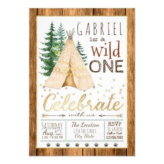 Boys Wild One Tribal TeePee First Birthday Invitation